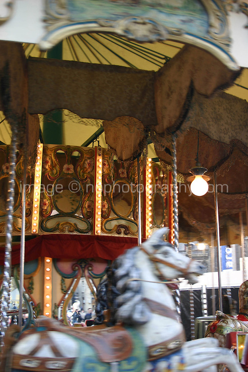 Merry go round at funfair, Amsterdam, the Netherlands<br />