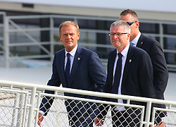 BRATISLAVA, Sept. 17, 2016 (Xinhua) -- European Council President Donald Tusk (L) arrives at a wharf by the Danube river on the sidelines of an informal European Union (EU) summit in Bratislava, Slovakia, Sept. 16, 2016. EU members on Friday issued a joint declaration, formulating a road map for the bloc to tackle challenges, said Slovak Prime Minister Robert Fico. (Xinhua/Gong Bing) (wtc) (Credit Image: © Gong Bing/Xinhua via ZUMA Wire)