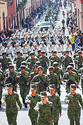 Members of the Mexican National Guard and Army march in a parade to celebrate the 251st birthday of the Mexican Independence hero Ignacio Allende January 21, 2020 in San Miguel de Allende, Guanajuato, Mexico. Allende, from a wealthy family in San Miguel played a major role in the independency war against Spain in 1810 and later honored by his home city by adding his name.