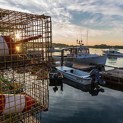Lobster buoys and traps on the wharf at the Friendship Lobster Co-op in Friendship, Maine.