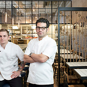 April 11, 2015 - New York, NY : Chef Brad Willits, left, and  owner George Mendes pose for a portrait in the dining room of their soon-to-open Portuguese restaurant Lupulo, at 835 6th Ave. in Manhattan, on Saturday afternoon.  CREDIT: Karsten Moran for The New York Times