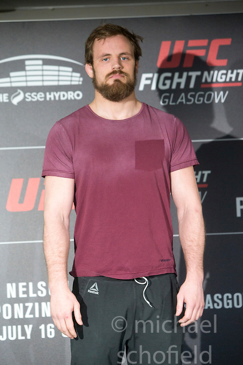 Gunnar Nelson, No.8 welterweight contender. UFC Fight Night : Ultimate Media Day at the  Crowne Plaza Glasgow. This is for the forthcoming UFC Fight Night Glasgow at the SSE Hydro on 16th July 2017.