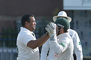 Chris Read and Samit Patel celebrate the wicket of Michael Burgess (not shown) during the Specsavers County Champ Div 2 match between Sussex County Cricket Club and Nottinghamshire County Cricket Club at the 1st Central County Ground, Hove, United Kingdom on 28 September 2017. Photo by Simon Trafford.