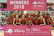 WINNERS England Women celebrate with the trophy after winning all three of the Netball World Cup 2019 Preparation matches between England Women and Uganda at Copper Box Arena, Queen Elizabeth Olympic Park, United Kingdom on 2 December 2018.