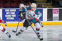 KELOWNA, CANADA - FEBRUARY 22: Lucas Johansen #7 of the Kelowna Rockets skates with the puck against the Edmonton Oil Kings on February 22, 2017 at Prospera Place in Kelowna, British Columbia, Canada.  (Photo by Marissa Baecker/Shoot the Breeze)  *** Local Caption ***