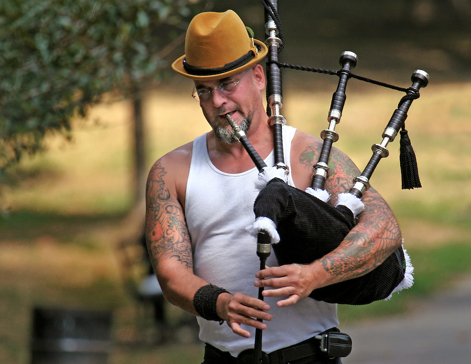 Practicing the pipes.