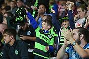 Young FGR fans cheer their team on during the EFL Cup match between Bournemouth and Forest Green Rovers at the Vitality Stadium, Bournemouth, England on 28 August 2019.
