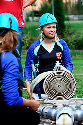 CZECH REPUBLIC VYSOCINA NEDVEZI 2AUG14 - Voluntary female firefighters perform during a race on the village common in Nedvezi, Vysocina, Czech Republic.<br /> <br /> .<br /> <br /> jre/Photo by Jiri Rezac<br /> <br /> <br /> <br /> © Jiri Rezac 2014