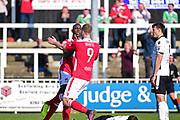Wrexham Forward Ntumba Massanka celebrates his goal with Wrexham Forward Jordan White 2-3 during the Vanarama National League match between Bromley FC and Wrexham FC at Hayes Lane, Bromley, United Kingdom on 8 April 2017. Photo by Jon Bromley.