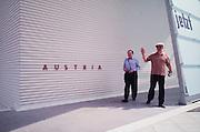VENICE, ITALY..June 1997..47th Biennale of Venice.Austrian Pavillion..Gerhard Ru?hm (l.) and Oswald Wiener..(Photo by Heimo Aga)