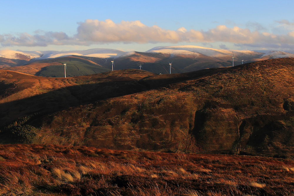 Glenkerie Windfarm above the hills in Upper Tweeddale region of the Scottish Borders; owned by Infinis Renewable Energy Group