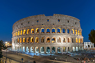 The Colosseum (aka Flavian Amphitheatre) in Rome at dusk.