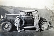 family posing with their automobile France ca 1930s