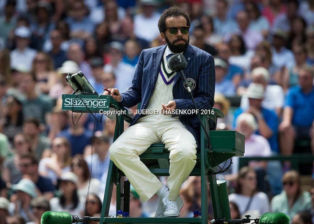 Wimbledon Feature, Stuhlschiedsrichetr Kader Nouni auf dem Centre Court<br /> <br /> Tennis - Wimbledon 2016 - Grand Slam ITF / ATP / WTA -  AELTC - London -  - Great Britain  - 3 July 2016.