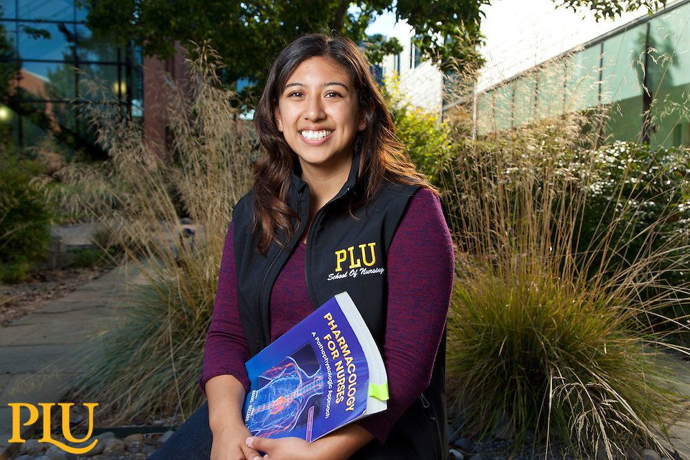 Nursing student Kelly Gutierrez '17, at PLU on Wednesday, Sept. 9, 2015. (Photo: John Froschauer/PLU)
