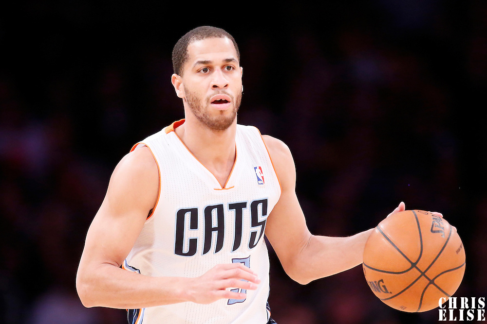 31 January 2014: Charlotte Bobcats point guard Jannero Pargo (5) brings the ball up court during the Charlotte Bobcats 110-100 victory over the Los Angeles Lakers at the Staples Center, Los Angeles, California, USA.
