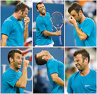 Marc Gicquel shows his frustration in a loss at the U.S. Open.