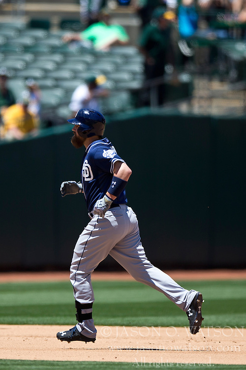 OAKLAND, CA - JUNE 18:  Derek Norris #3 of the San Diego Padres rounds the bases after hitting a home run against the Oakland Athletics during the sixth inning at O.co Coliseum on June 18, 2015 in Oakland, California. The San Diego Padres defeated the Oakland Athletics 3-1. (Photo by Jason O. Watson/Getty Images) *** Local Caption *** Derek Norris