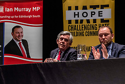 Pictured: Gordon Brown and Ian Murray MP<br /><br />Former Prime Minister Gordon Brown joined Scottish Labour MP Ian Murray; Scottish Labour MSP Daniel Johnson; Elaine Motion of legal firm Balfour+Manson who represents 78 MPs and peers in the prorogue petition; and Louise Gilmour, GMB Scotland senior organiser in manufacturing. at the Churh Hill Theatre in Edinburgh today for a 'No to No-Deal Rally' with campaign group 'HOPE not hate' and GMB Scotland.<br /><br />Ger Harley   EEm 12 September 2019