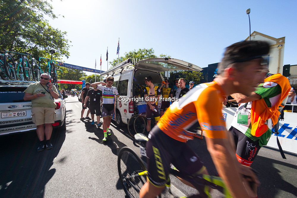Caleb Ewan (R) and Peter Sagan (M) after sign on of Stage 4, Norwood to Uraidla, of the Tour Down Under, Australia on the 19 of January 2018 ( Credit Image: © Gary Francis / ZUMA WIRE SERVICE )