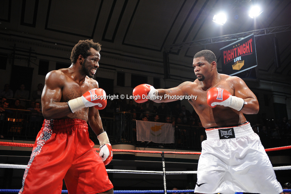 Mike Perez (white shorts) defeats Zack Page in 8x3min Heavyweight contest at York Hall 09.11.11. Matchroom Sport. Photo credit: © Leigh Dawney 2011.