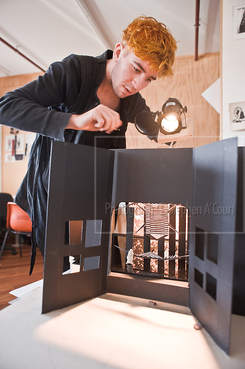 Toi Whakaari design students at work, in their classroom-studio. The project is opera set-design.