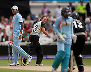 Bowler Suzie Bates celebrates winning the ICC Women's World Twenty20 Cup semi-final between New Zealand and India at Trent Bridge. Photo © Graham Morris (Tel: +44(0)20 8969 4192 Email: sales@cricketpix.com)