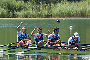 """Lucerne, SWITZERLAND, 15th July 2018, GBR., Men's Quadruple Scull, celebrate after winning the final and the """"Gold Medal"""", at the  FISA World Cup III Lake Rotsee, left to right, John COLLINS, Jonny WALTON, Graeme THOMAS and Tom BARRAS,  © Peter SPURRIER,"""