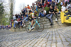 Amund Grondahl Jansen (NOR) Team Jumbo-Visma on the Muur Kapelmuur Geraardsbergen during the 2019 Ronde Van Vlaanderen 270km from Antwerp to Oudenaarde, Belgium. 7th April 2019.<br /> Picture: Eoin Clarke | Cyclefile<br /> <br /> All photos usage must carry mandatory copyright credit (© Cyclefile | Eoin Clarke)