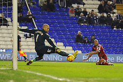 Middlesbrough's Emilio Nsue takes a shot at goal. - Photo mandatory by-line: Dougie Allward/JMP - Mobile: 07966 386802 - 18/02/2015 - SPORT - Football - Birmingham - ST Andrews Stadium - Birmingham City v Middlesbrough - Sky Bet Championship