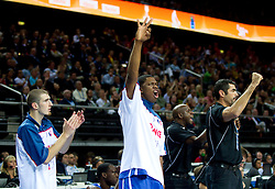 Players of France celebrate during final basketball game between National basketball teams of Spain and France at FIBA Europe Eurobasket Lithuania 2011, on September 18, 2011, in Arena Zalgirio, Kaunas, Lithuania. (Photo by Vid Ponikvar / Sportida)