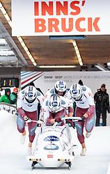 17.12.2017, Olympia Eisbahn, Igls, AUT, BMW IBSF Weltcup und EM, Igls, Viererbob, 1. Lauf, im Bild Oskars Melbardis, Daumants Dreiskens, Helvijs Lusis, Janis Strenga (LAT) // Pilot Oskars Melbardis with Daumants Dreiskens Helvijs Lusis Janis Strenga of Latvia during 1st run of four-man Bobsleigh competition of BMW IBSF World Cup and European Championship at the Olympia Eisbahn in Igls, Austria on 2017/12/17. EXPA Pictures © 2017, PhotoCredit: EXPA/ Johann Groder