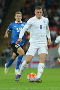 England midfielder Ross Barkley on the ball during the Group E UEFA European 2016 Qualifier match between England and Estonia at Wembley Stadium, London, England on 9 October 2015. Photo by Alan Franklin.