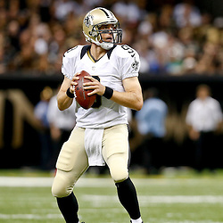 Aug 16, 2013; New Orleans, LA, USA; New Orleans Saints quarterback Drew Brees (9) against the Oakland Raiders during the first quarter of a preseason game at the Mercedes-Benz Superdome. Mandatory Credit: Derick E. Hingle-USA TODAY Sports