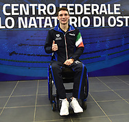 Roma 13-3-2019 Centro Federale di Ostia <br /> Swimmer Manuel Bortuzzo poses for a picture at the end of a meeting with the press. Manuel Bortuzzo was shot in the back due to a mistaken identity and is paralysed from the waist down since then. This is the first outing of Manuel from the hospital and the rehabilitation center.  <br /> Foto Andrea Staccioli / Deepbluemedia / Insidefoto