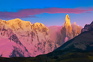 South America;Argentina,Patagonia,Cerro Torre Group, Fitz Roy, first light on the andes peaks