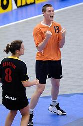 05-02-2006 KORFBAL: NEDERLAND - BELGIE: DRIEBERGEN<br /> Nederland wint met 21-12 van Belgie / Wim Scholtmeijer<br /> ©2006-WWW.FOTOHOOGENDOORN.NL