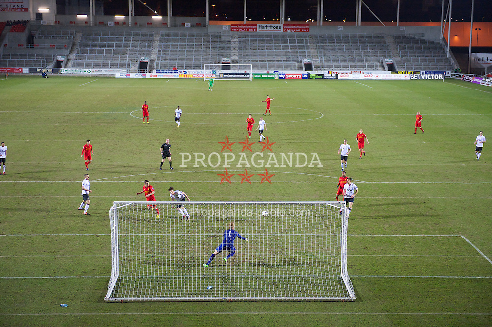 ST HELENS, ENGLAND - Monday, February 25, 2013: Liverpool's Adam Morgan sees his header go wide against Manchester United during the Premier League Academy match at Langtree Park. (Pic by David Rawcliffe/Propaganda)