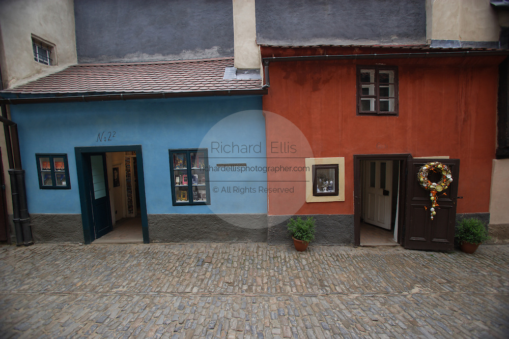 Golden Lane in Prague Castle, Prague, Czech Republic. House number 22 on the left is where Franz Kafka lived. The castle, first constructed in the 10th century is the seat of government in the Czech Republic.