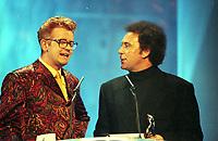 Chris Evans host of The BRIT Awards 1995 and Tom Jones<br /> Monday 20 Feb 1995.<br /> Alexandra Palace, London, England<br /> Photo: JM Enternational