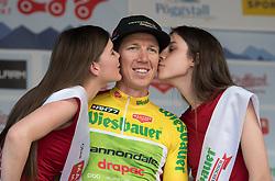04.07.2017, Pöggstall, AUT, Ö-Tour, Österreich Radrundfahrt 2017, 2. Etappe von Wien nach Pöggstall (199,6km), Siegerehrung, im Bild Sep Vanmarcke (BEL, Cannondale-Drapac Pro Cycling Team) im gelben Trikot // Sep Vanmarcke of Belgium (Cannondale-Drapac Pro Cycling Team) wearing the yellow jersey on Podium during winner ceremony for the 2nd stage from Vienna to Pöggstall (193,9 km) of 2017 Tour of Austria. Pöggstall, Austria on 2017/07/04. EXPA Pictures © 2017, PhotoCredit: EXPA/ Reinhard Eisenbauer