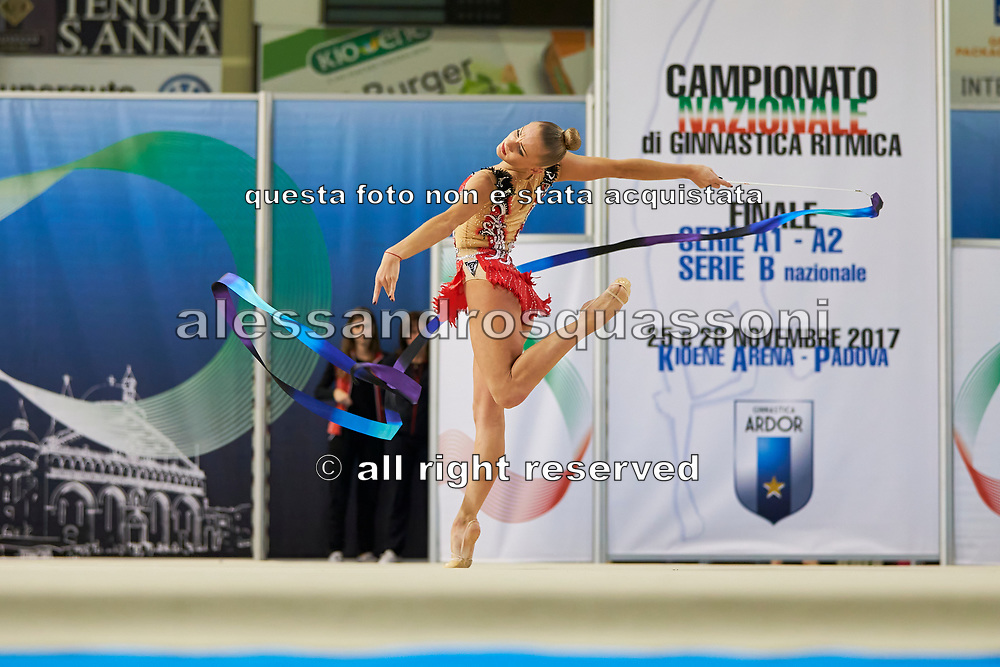 Ekaterina Vedeneeva from Moderna Legnano team during the Italian Rhythmic Gymnastics Championship in Padova, 25 November 2017.