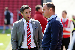 Barnsley Manager, Lee Johnson talks with Peterborough United Manager, Dave Robertson before kick-off - Photo mandatory by-line: Joe Dent/JMP - Mobile: 07966 386802 - 18/04/2015 - SPORT - Football - Barnsley - Oakwell - Barnsley v Peterborough United - Sky Bet League One