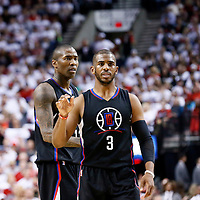 25 April 2016: Los Angeles Clippers guard Chris Paul (3) is seen next to Los Angeles Clippers guard Jamal Crawford (11) during the Portland Trail Blazers 98-84 victory over the Los Angeles Clippers, during Game Four of the Western Conference Quarterfinals of the NBA Playoffs at the Moda Center, Portland, Oregon, USA.