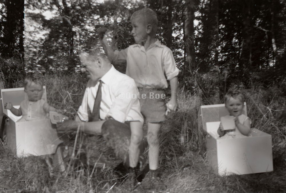 double exposed image picnic Holland 1960s