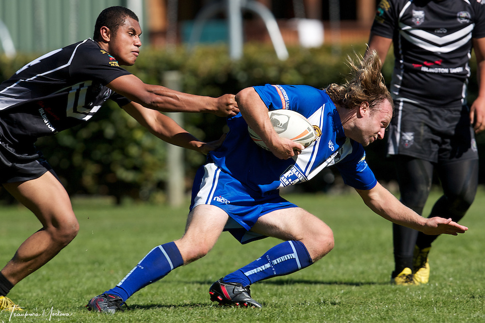 Alec Barker of the Giants is tackled during the preaseason Rugby league game between the Wakatipu Giants and Hornby U18s at the Jack Reid Park, Arrowtown, New Zealand. Saturday, March 17, 2012. Credit:Teaukura Moetaua / Media Sport