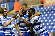 Reading's Carlos Orlando Sa celebrates his goal with Reading's Aaron Tshibola during the Sky Bet Championship match between Reading and Ipswich Town at the Madejski Stadium, Reading, England on 11 September 2015. Photo by Mark Davies.