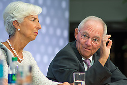 October 6, 2016 - Christine Lagarde, Managing Director of the IMF and Wolfgang Schauble, German Finance Minister, in panel talking about Global Economy, during the IMF - World Bank Annual Meetings 2016. (Credit Image: © Dimitrios Manis via ZUMA Wire)
