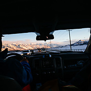 Tanner Flanagan drives to Jackson Hole Mountain Resort as the sun rises.