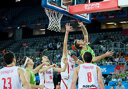Giorgi Shermadini of Georgia vs Zoran Dragic of Slovenia during basketball match between Slovenia and Georgia at Day 2 in Group C of FIBA Europe Eurobasket 2015, on September 6, 2015, in Arena Zagreb, Croatia. Photo by Vid Ponikvar / Sportida